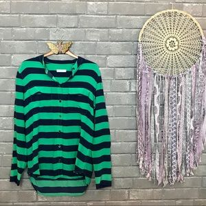 equipment femme // kelly green navy blue blouse m